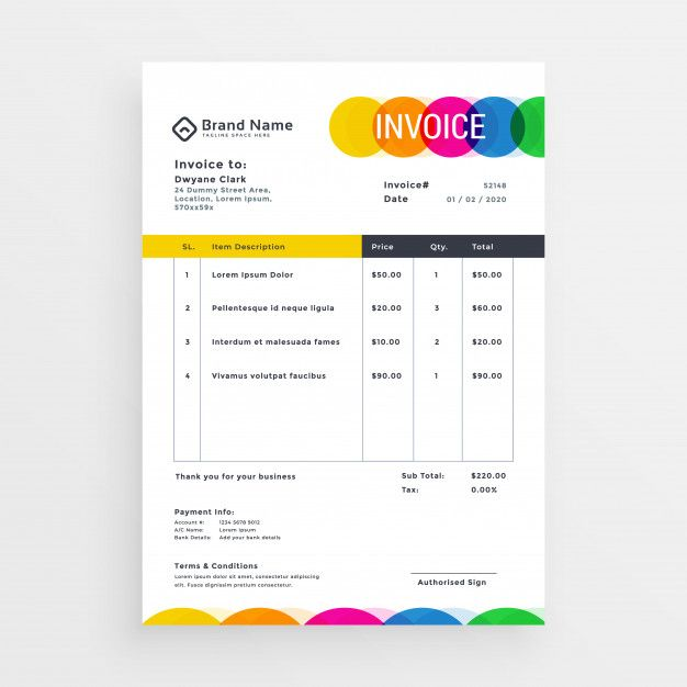 Download Colorful Vector Invoice Template Design For Free In 2020 Invoice Design Template Invoice Design Invoice Template
