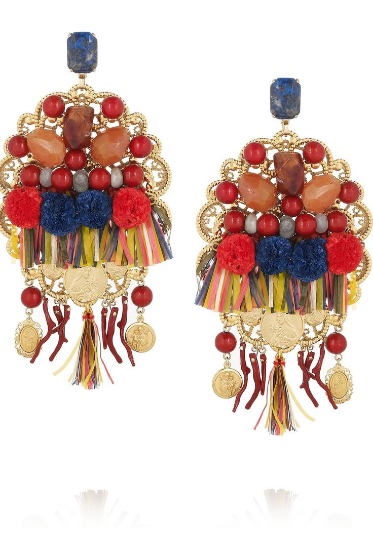 DOLCE & GABBANA Filigrane embellished gold-plated clip earrings