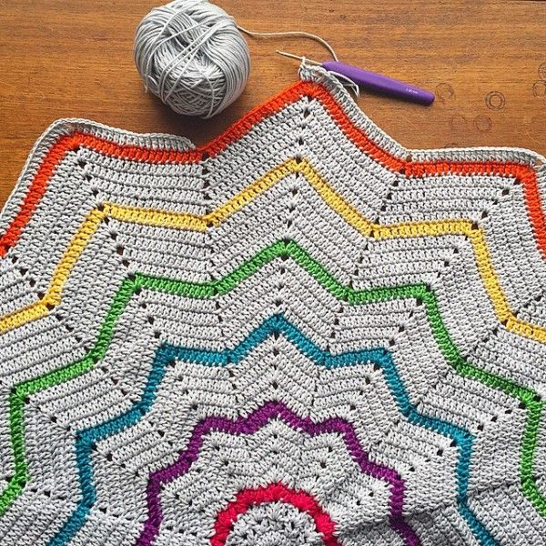 cozamundo rainbow ripple star crochet blanket