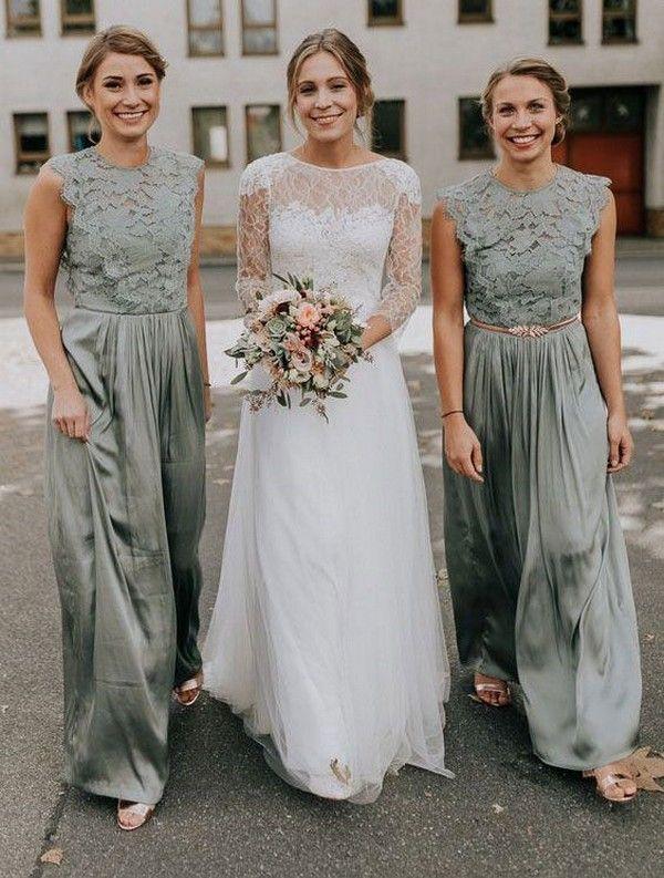 Sage Lace Crochet Top Bridesmaid Dress With Chiffon Skirt Wedding Bridesmaids Brid Sage Bridesmaid Dresses Sage Bridesmaid Dress Long Green Bridesmaid Dresses