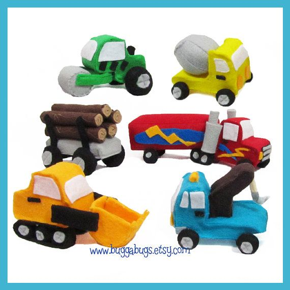 NEW Construction & Hauler Cars - PDF Sewing Pattern (Semi Truck, Log Load, Front Loader, Tow Truck, Cement Truck, Roller)