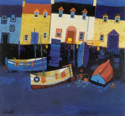 Boats and Tarry Wall Art Print by George Birrell - WorldGallery.co.uk