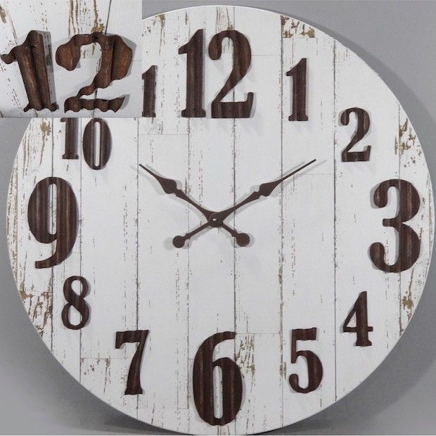 Distressed Wood Metal Numbers Wall Clock
