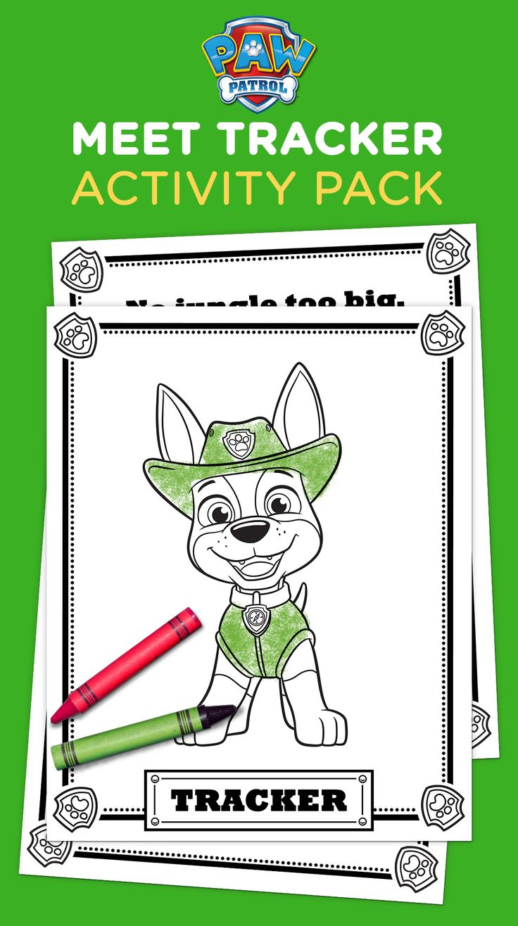 Paw patrol coloring pages aspca - Paw Patrol Tracker Coloring Pack