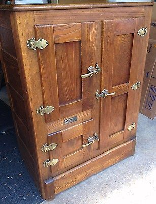 Antique Gibson Solid Oak Wood Ice Box Ice Chest Refrigerator Solid Oak Refrigerator And Box