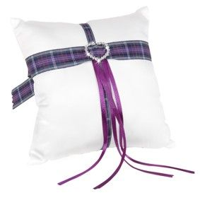 Scottish wedding ring cushion. Available in white or Ivory with a selection of tartan ribbons to choose from. Shown here with Pride of Scotland tartan ribbon