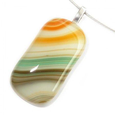 Glashanger van oranje, groen, mintgroen en bruin gestreept glas.