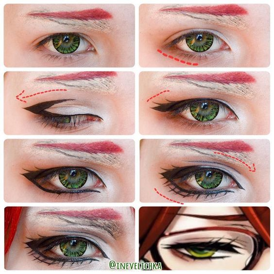 Grell Sutcliffe - Eye Makeup Tutorial #cosplay
