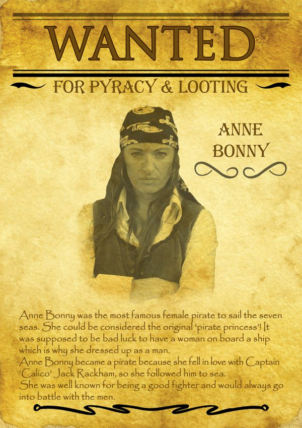 Wanted Anne Bonny for Piracy & Looting | Anne Bonny ...