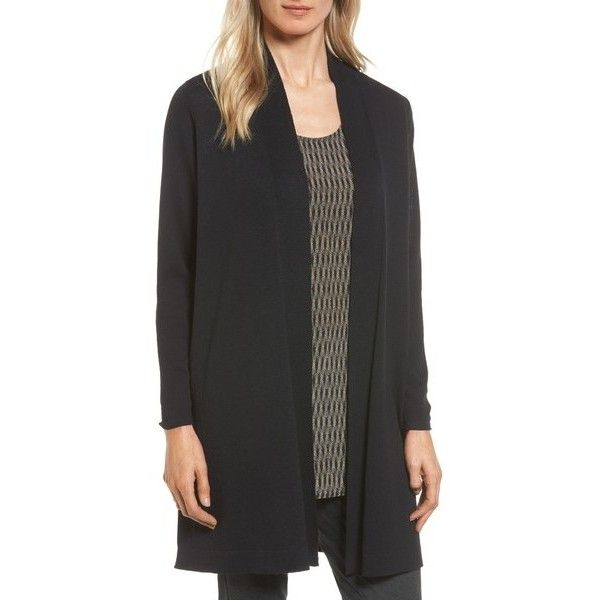 EILEEN FISHER Long Wool Cardigan ($130) ❤ liked on Polyvore featuring tops, cardigans, petite tops, layering long sleeve tops, woolen tops, long layered tops and petite cardigans
