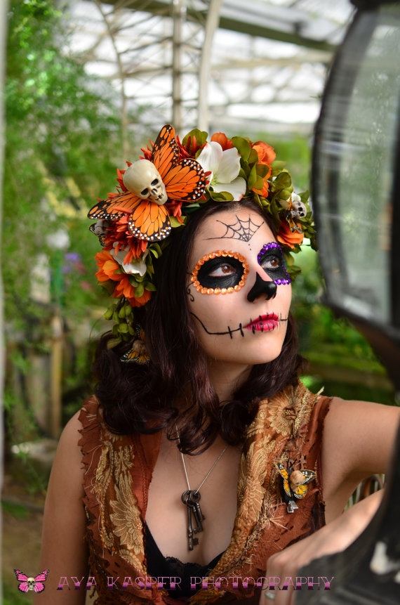 Hawkmoth Harvest Day of the Dead Crown  Dia de los by HikariDesign,