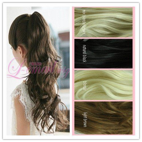 50cm Long Mix Blonde/brown Big Clip on Ponytail Hairpiece Extension Wavy Pj18-1 by yi wu zi ping wigs Co.LTD. $23.38. 50cm Long Natural balck Big Clip on Ponytail Hairpiece Extension Wavy Pj18-1. Color:mix blonde/brown                    EST. SHIPPING WT. : 200g      Fiber: Synthetic, High Quality Synthetic Japanese Kanekalon