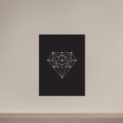 "Americanflat Motivated Type Diamond Graphic Art on Gallery Wrapped Canvas in Black Size: 30"" H x 24"" W x 1.75"" D"