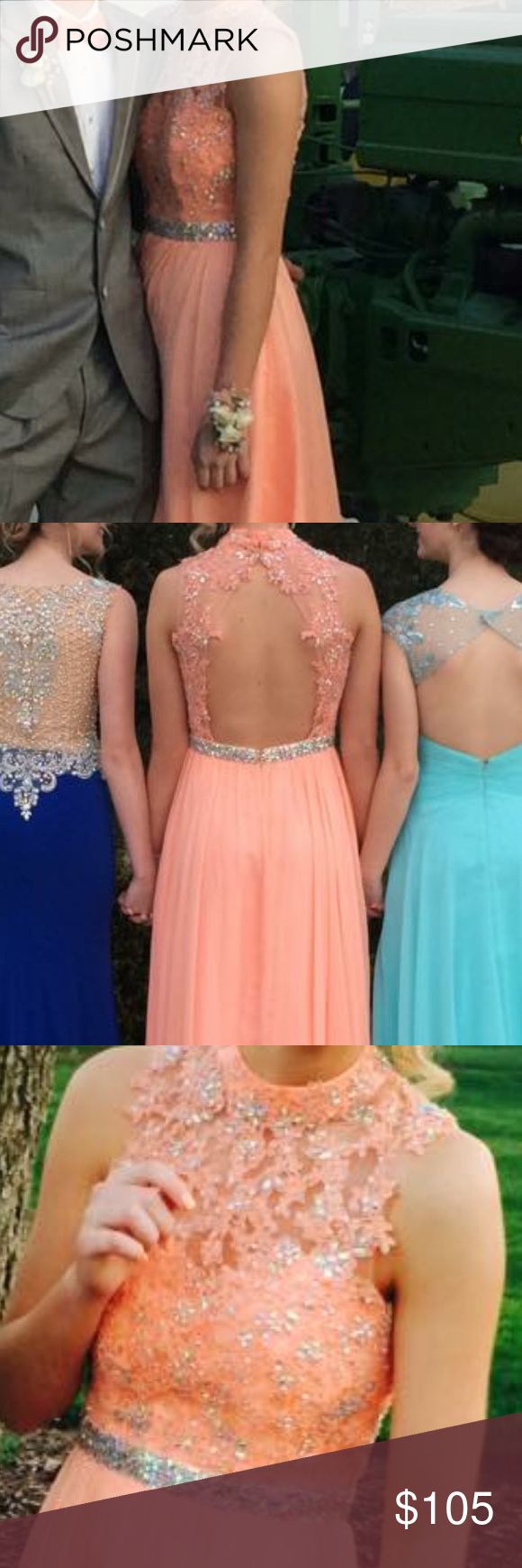 Peach prom dress Peach/coral with iridescent design and lace Dresses Prom