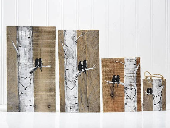 Made and Ready to Ship!!! Perfect Valentines Gift for Him Custom Wedding Gift Decor Rustic Pallet Art Affordable Original Paintings Love Bird Painting Aspen tree Painting Birch tree Painting Personalized Wedding Gift for Couple  Aspen / Birch Love Birds on Reclaimed Wood - apx. 11 x 5 1/4  This simplistic, rustic painting of two birds resting in a tree together will add rustic character to any room and would make a sweet wedding or anniversary gift. ****To personalize this just send...