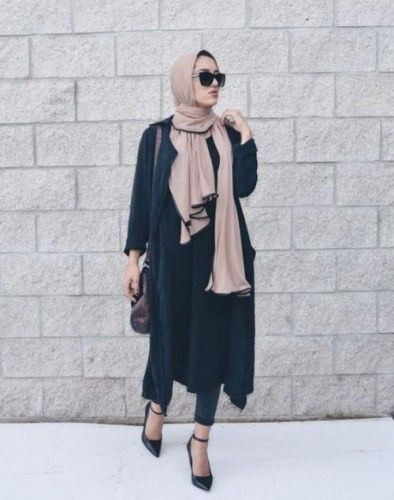 classy hijab black outfit, Hijab chic from the street…