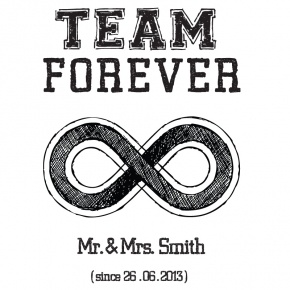 """TEAM FOREVER"" Bride & Groom  ...and they lived happily ever after!         This personalised ""TEAM FOREVER""  print makes the perfect wedding or anniversary gift!    It can be printed on anything !  (T-shirts , serving trays, coffee/tea cups etc)     Just let us know the names and year and we will create your own unique personalised gift."