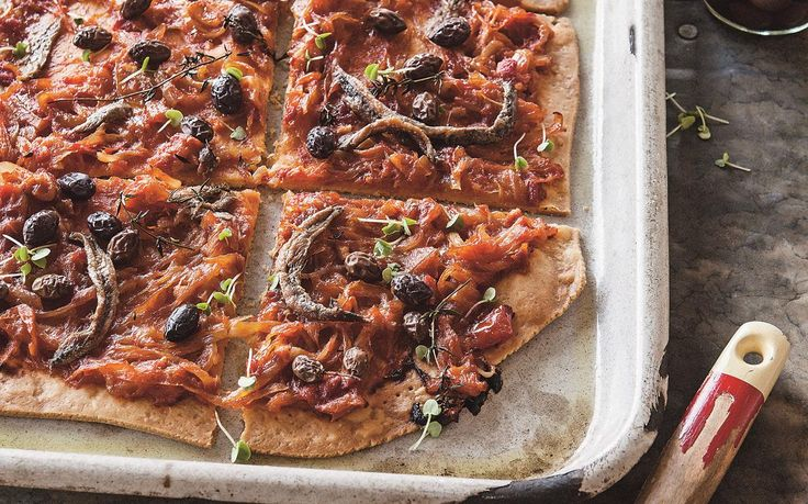 Pissaladiere recipe - This beautiful Pissaladiere is a French take on the classic pizza dish, recreated here by Kate Gibbs, a recipe extracted from her book 'Margaret and Me'. The combination of olives and anchovies simply sublime.
