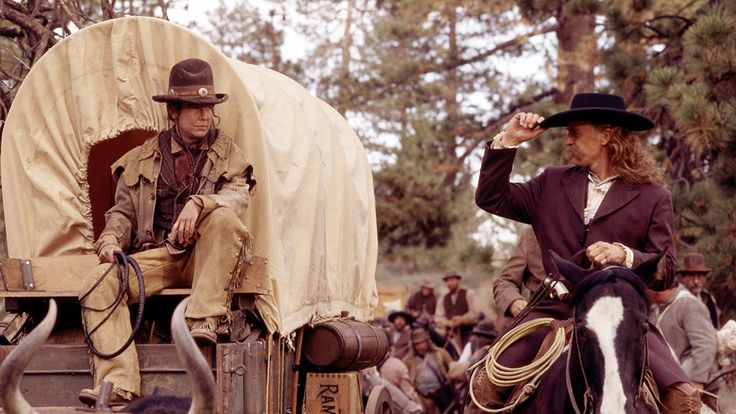 Deadwood. Calamity Jane and Wild Bill Hickock in the very first episode. Robin Weigert and Keith Carradine.