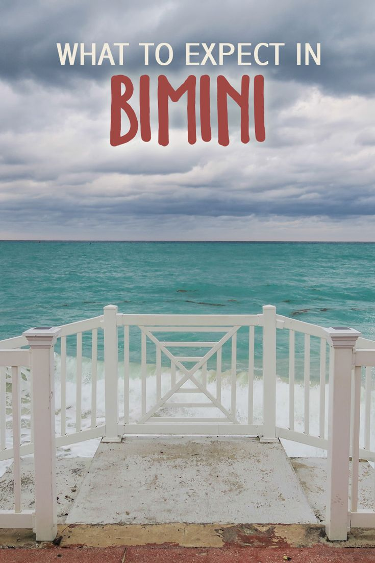 What to Expect in Bimini: Bimini is the westernmost chain of islands in the Bahamas, located about 50 miles east of Miami. Bimini is also the closest point in the Bahamas to the mainland United States!