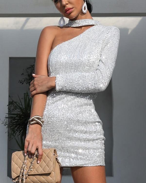 Flirtyfull Solstice Silver Sequined One Shoulder Mini Dress 3ebd5237c