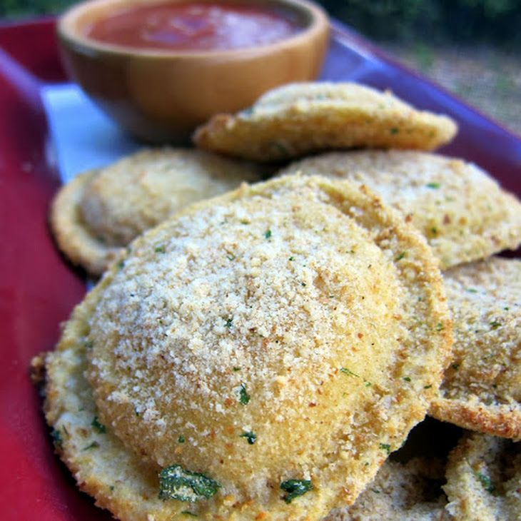 Oven Toasted Ravioli Recipe Main Dishes with frozen ravioli, eggs, milk, italian style bread crumbs, grated parmesan cheese, cooking spray