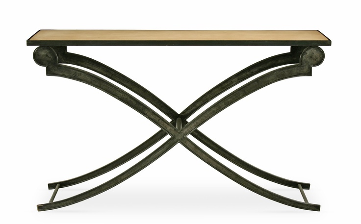 Clyde Console Table for dining room - with antique gold legs and antique gold top