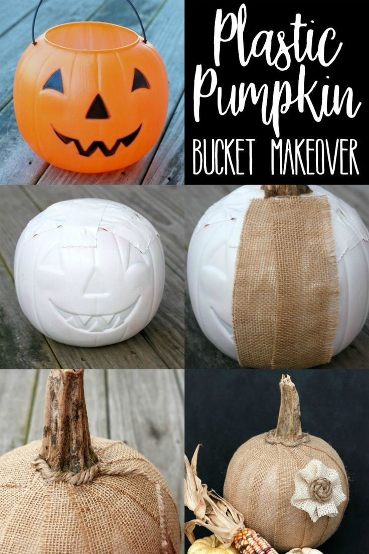 This Plastic Pumpkin Bucket Makeover is a great dollar store craft that'll let you move your decor from Halloween to Fall in a snap!