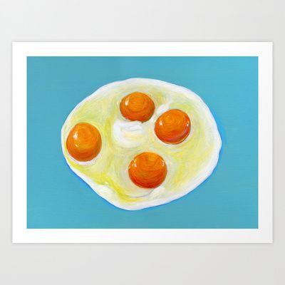 Four Fried Eggs  Art Print by Shihotana