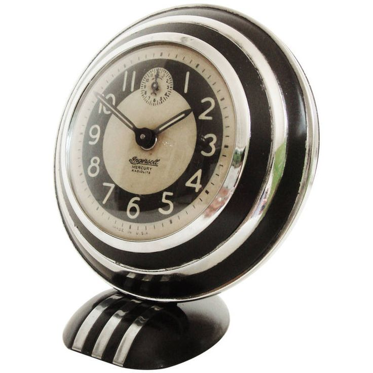 Rare and Iconic American Art Deco, Mercury Radiolite Alarm Clock by Ingersoll | From a unique collection of antique and modern clocks at https://www.1stdibs.com/furniture/more-furniture-collectibles/clocks/