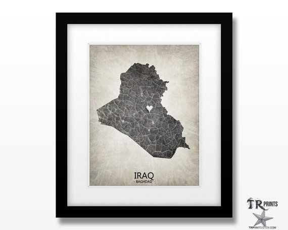 Iraq Map Art Print  Home Is Where The Heart Is Love by TRPrints