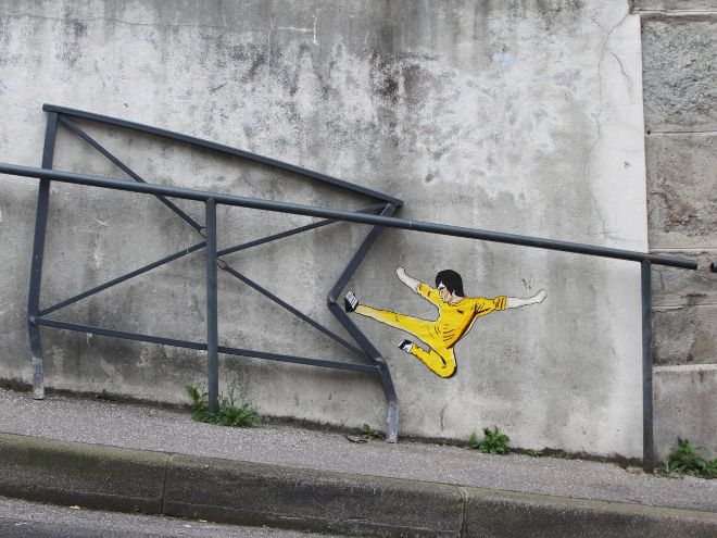 Our city streets can be gloomy grey concrete-covered places; these genius pieces of street art transform everyday objects and situations into fun and playful social spaces
