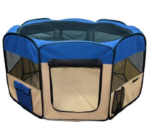 Dog Pens for Sale : This portable, versatile, playpen makes it easy to take your pet with you, wherever you go. Set up a convenient home-away-from-home in moments. Its constructed with 600D heavy duty oxford cloth. FEATURES: Color: Blue; 8 panel 45 Diameter; Instantly sets up;