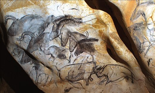 Aurochs, horses, and rhinoceroses, wall painting in ChauvetCave, Vallon-Pont-d'Arc, Ardèche, France