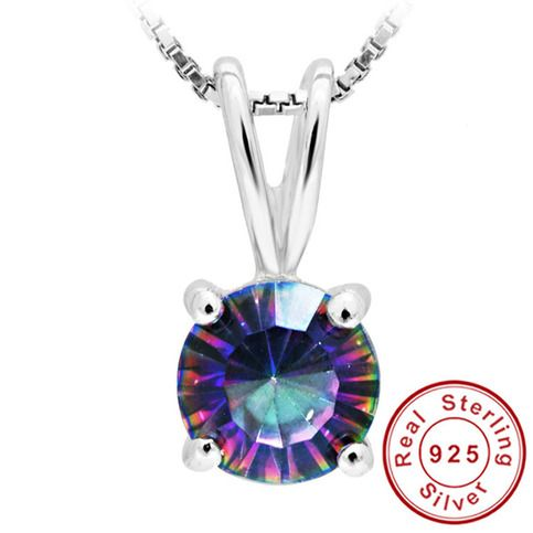 Concave Round Genuine Mystical Fire Rainbow Topaz Pendant Pure Solid 925 Sterling Silver Stunning Natural Stone  Product Specifications : Jewelry Information = Brand,Seller,or Collection Name  :Feel color Gem Type : Genuine Mystic Topaz Minimum total gem weight : 0.8carats           Setting...