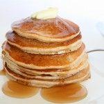 Vegan Banana Oatmeal Pancakes  1 1/4 c. O.F. oats, 1/2 c. WW flour, 2 t. B.P. , 1/2 t. salt, 1 1/2 c. soymilk, BLEND then add and blend 2 ripe bananas.    Makes 12, 64 cal each
