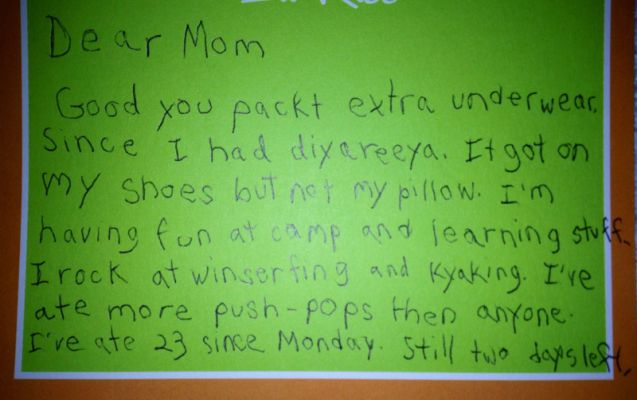 Kid writes the best letter from camp EVER