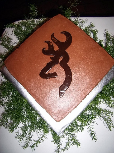browning groom cake. cool! This is perfect for Blake! However to spice things up I would want tons of chocolate covered strawberries and maybe a second tier...