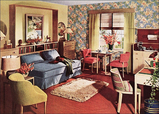 1942 One Room Apartment - Armstrong Linoleum    This image is a design by the redoubtable Mrs. Hazel Dell Brown, lead designer at Armstrong Cork Company. It's an intriguing combination of medium blue, chartreuse, and rust. The design was created to solve the WWII housing problem as the nation geared up for war. Solution? Create a one room apartment to gain more income than just a room for rent.