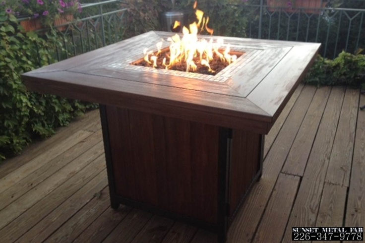 Durable wood bar height fire table - custom made - Sunset Metal Fab.