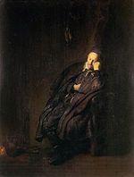 Rembrandt van Rijn, Een oude man slapend bij het vuur, mogelijk 'De Luiheid', 1629, Galleria Sabauda, Torino.jpg