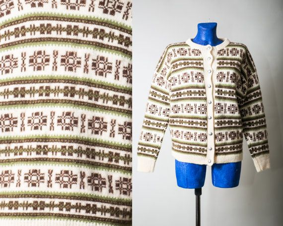 Ivory and Brown Nordic sweater / Norwegian Unisex by vintagepussy