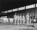 1941; MacArthur accepting command of Philippine Army troops in induction ceremonies of the Philippine Army Air Corps, at Zablan Field, Camp Murphy