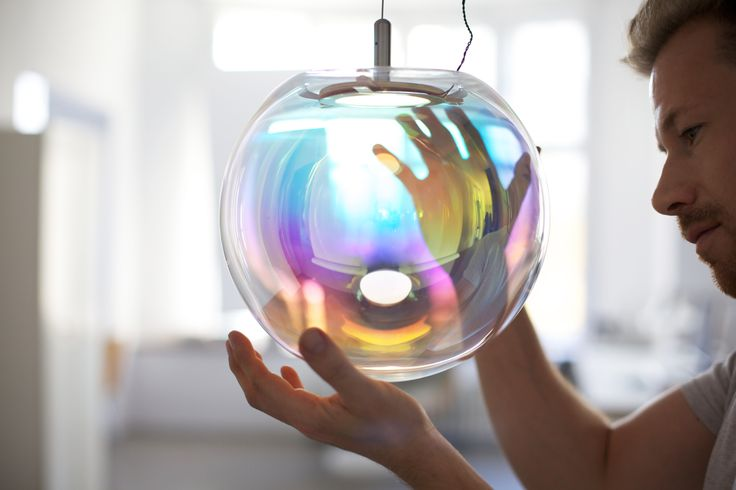 Lexus Design Awards 2014 - Iris, Designed by: Sebastian Scherer, Country: Germany, Mentor: Robin Hunicke, The glass lamp Iris is made of a handblown crystal sphere, shimmering in different colours from every angle. An inspiring luminary piece. #Lexus #LexusAustralia #Design