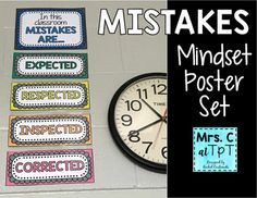 This poster set is a great addition to any classroom to encourage students to have a positive growth mindset! It reminds them that mistakes are okay, and we must learn from them. This poster set will print great in color or in black and white. I would recommend using bright colored paper
