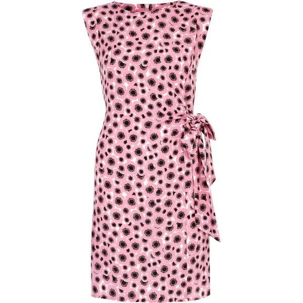 See this and similar River Island day dresses - Look smart and stylish in this pink poppy print sleeveless, shoulder pad wrap front dress with tie side detail....