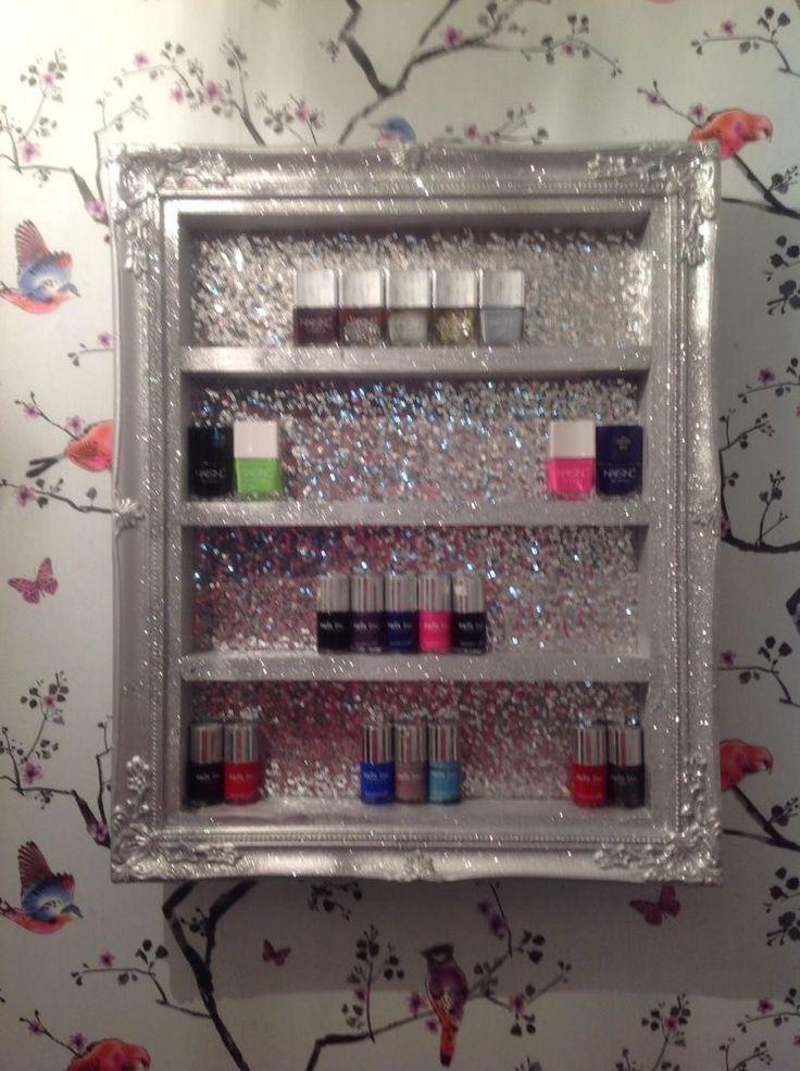 wall mounted nail polish Racks/storage Salon Shelf WITH REAL SEQUIN BACKS  | eBay