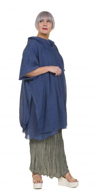 Yiannis Karitsiotis Blue Drama Blouse Tunic-Dress