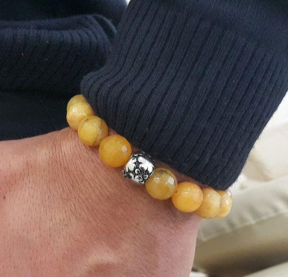 Mens Natural 12 mm Yellow Agate Gemstone Stretch Bracelet, Men's Five Leaf Clover Bracelet, Good Luck Mens Gift Husband Gift, Inner Strength