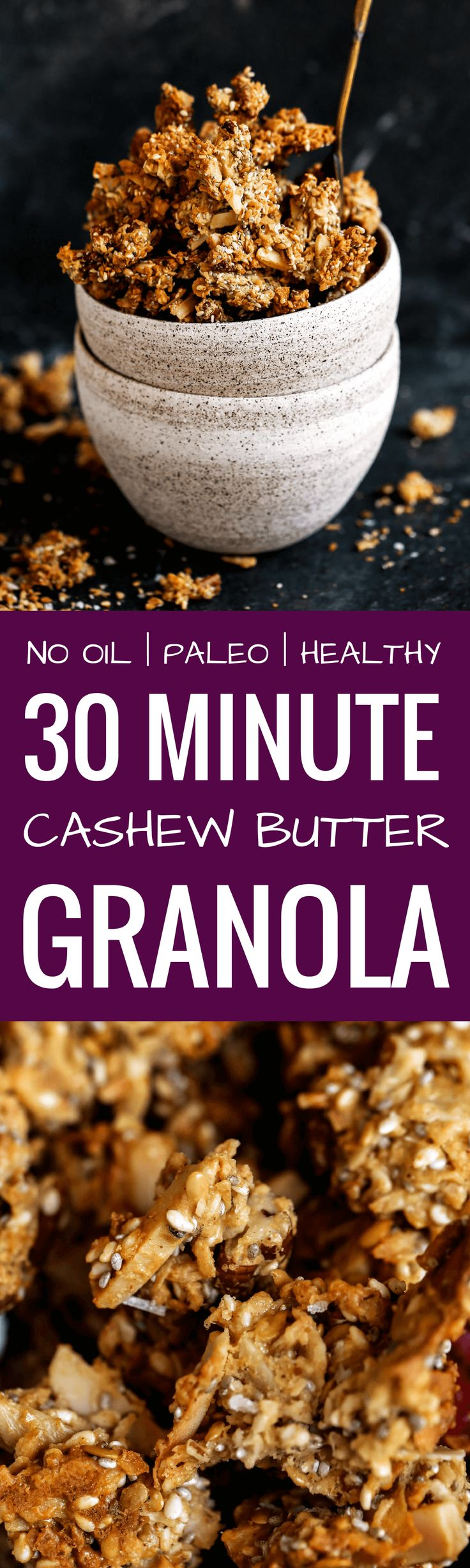 Crispy, crunchy, no oil or oats, or refined sugar! This healthy Paleo granola recipe is insanely delish and made in 30 minutes! Perfectly paired with coconut yogurt. Made with toasty coconut, almond, nutty infusions, and cinnamon spice. Sweetened naturally.! Made in minutes. Whole30 breakfast recipes. Whole30 breakfast ideas. Whole30 granola. Paleo granola recipe. Easy paleo granola. Best grain free granola recipe. Healthy breakfast ideas. Easy breakfast recipes. Whole30 meal...